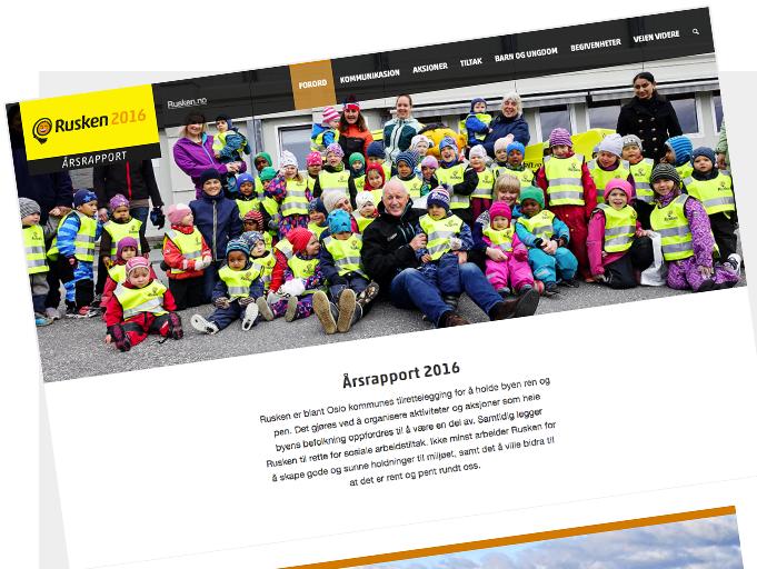 Bilde av nettsiden til Årsrapport 2016.
