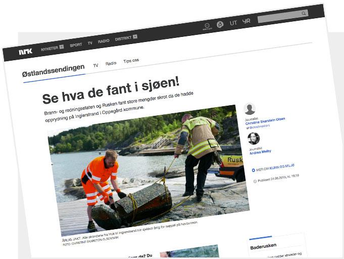Artikkel fra nrk.no: «Se hva de fant i sjøen»